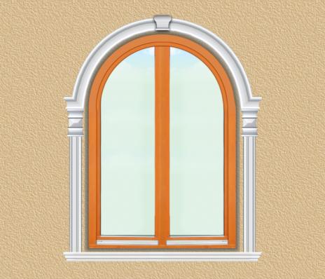 BD09 Boltíves ablak díszítése polisztirol díszléccel