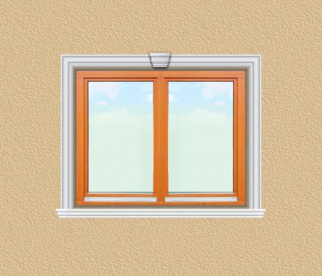ED09 ablak díszítése egyféle polisztirol díszléccel