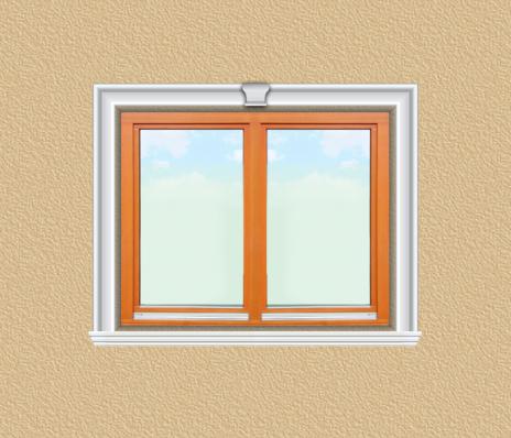 ED11 ablak díszítése egyféle polisztirol díszléccel