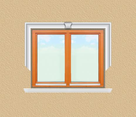 ED12 ablak díszítése egyféle polisztirol díszléccel