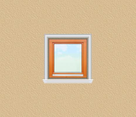 ED31 ablak díszítése egyféle polisztirol díszléccel