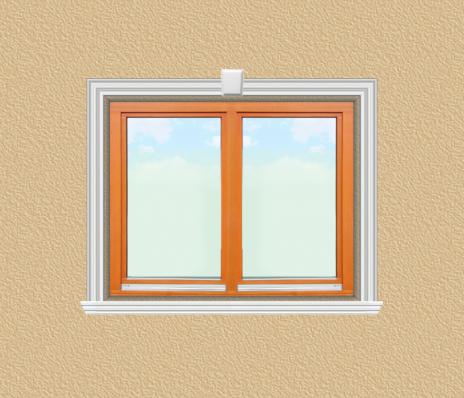 ED19 ablak díszítése egyféle polisztirol díszléccel