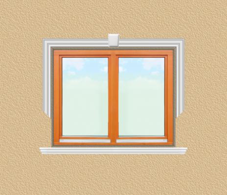 ED20 ablak díszítése egyféle polisztirol díszléccel